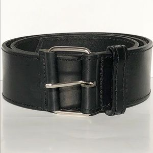 Roots Leather Black Belt Silver Buckle